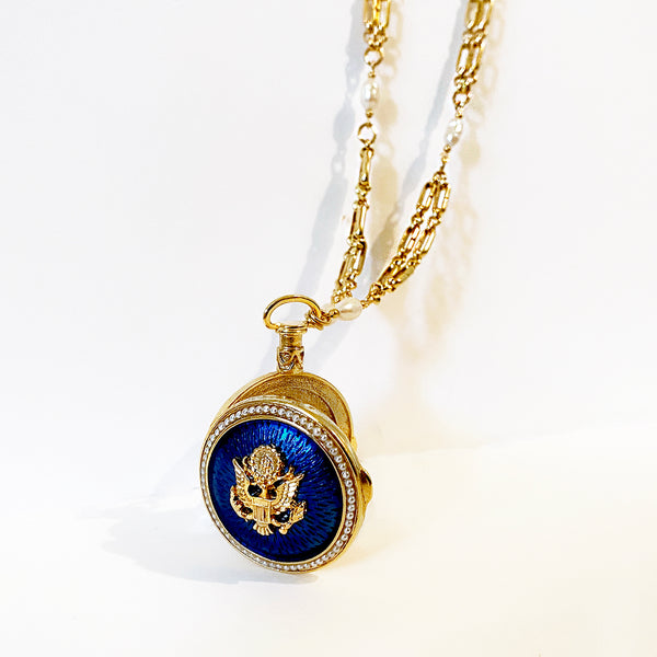 Great Seal Locket Necklace on Blue Enamel