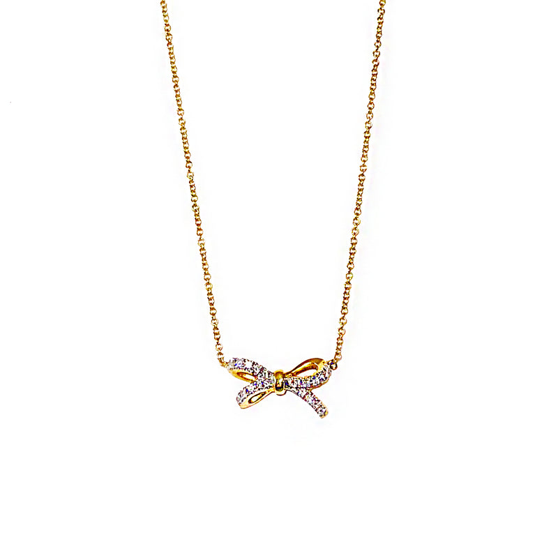 Gold and Diamond Tiny Bow Necklace