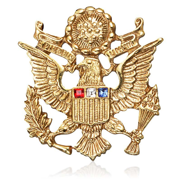 U.S. Great Seal Pin with Red, White and Blue Crystals