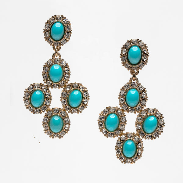 Dangling Turquoise with Swarovski Crystals Earrings