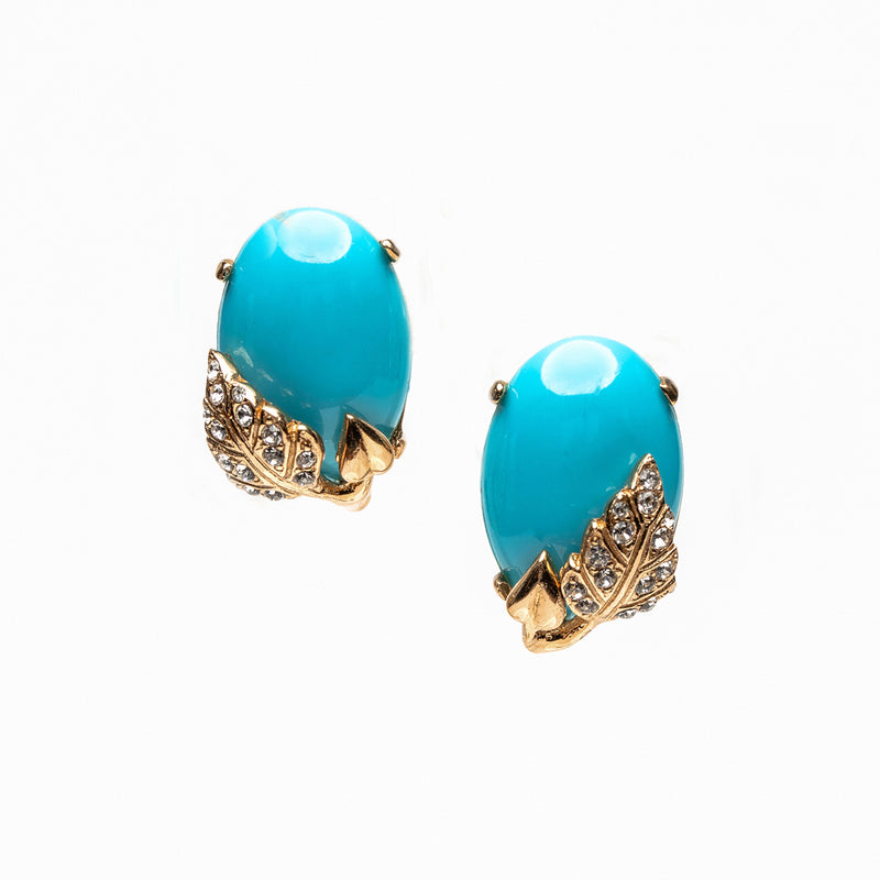 Turquoise with Gold Leaf Earrings