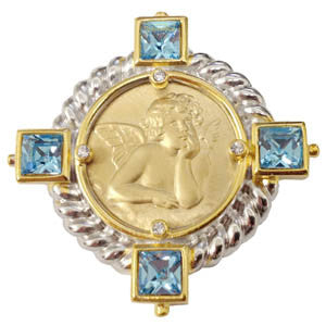 Raphael Pin with Aquamarine Crystals