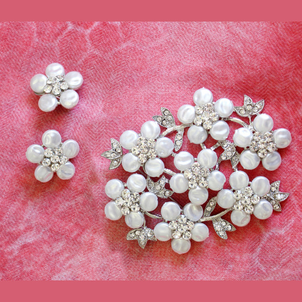 Coin Pearl Brooch and Earrings