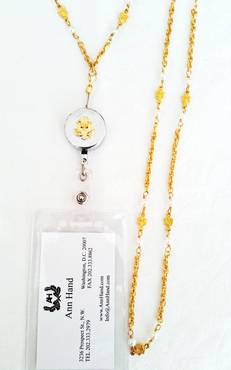 Gold Chain and Pearl Necklace with ID/Badge Holder Attachment