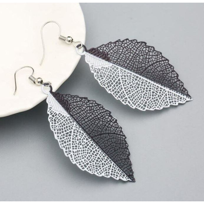 Leaf Earrings: Black&White - Abike Oyedele