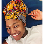 Load image into Gallery viewer, African Print Hair Bonnet W/Tie (2 Piece) - Abike Oyedele
