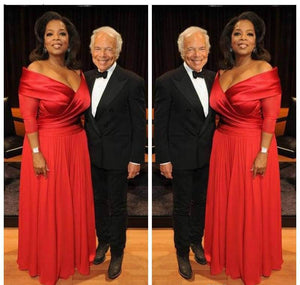 Elegant Oprah Winfrey New Red Off The Shoulder Evening Dress