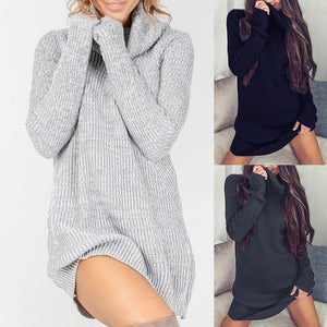 Chic Women Solid Color Turtleneck Long Sleeve Casual Loose Knitted Sweater