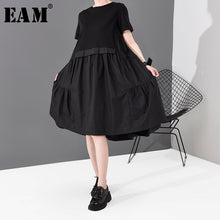 Load image into Gallery viewer, Women Black Pleated Split Joint Temperament Dress