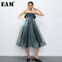 Load image into Gallery viewer, Women Green Hollow Out Dot Mesh Temperament Strapless Sleeveless Dress