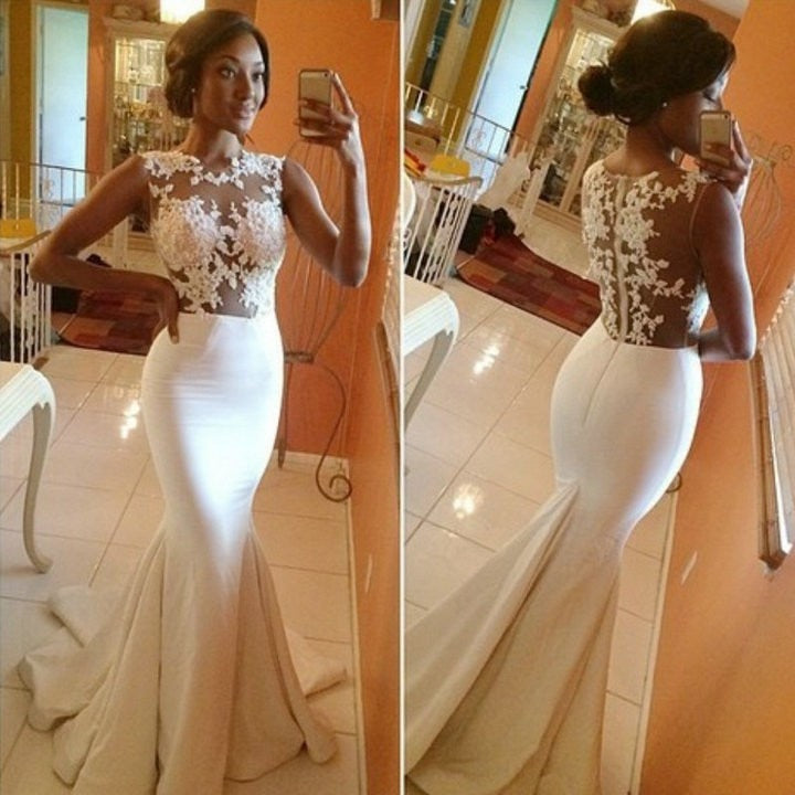 Custom Made New Cap Sleeves Satin Lace Mermaid Evening Dresses