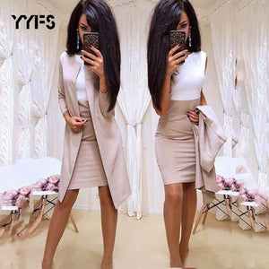 Women Office Wear 2 Piece Formal Blazer Dress Suit