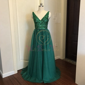 Beading Prom Sleeveless Evening Gown A-line Lace Up Backless Vestido