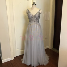 Load image into Gallery viewer, Beading Prom Sleeveless Evening Gown A-line Lace Up Backless Vestido