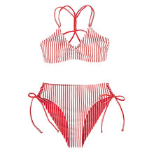 Load image into Gallery viewer, CUPSHE Red White Stripe Sexy Reversible Bottom Strappy Bikini Sets