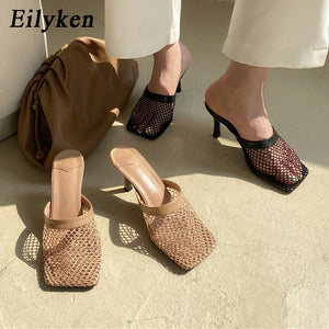Eilyken New Hollow Breathable Mesh Woman Vintage Square Toe Sandals