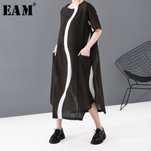 Load image into Gallery viewer, Women Black Striped Split Joint Long Thin Dress