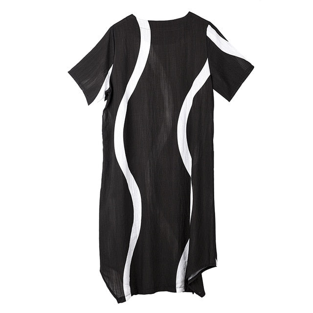 Women Black Striped Split Joint Long Thin Dress