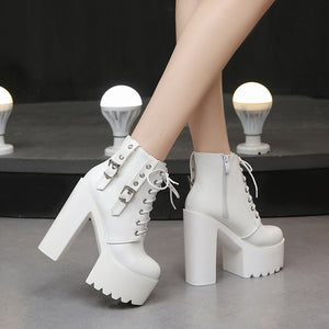 Thick Heel Fashion 14CM White Super High Heel Shoes