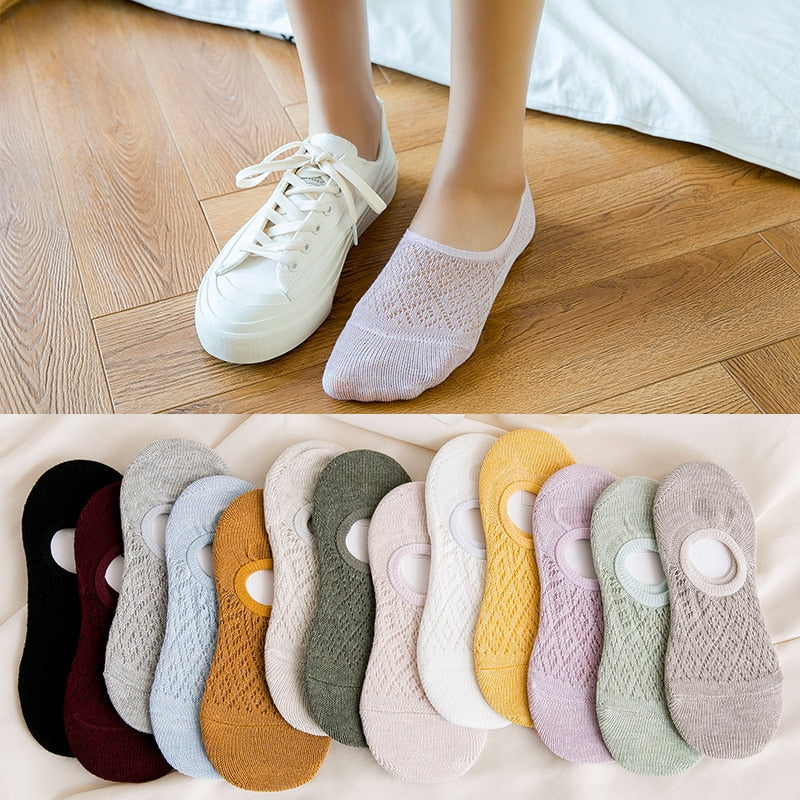 5 Pairs Set Women Silicone Non Slip Invisible Summer Socks Raphael Louis Clothing Store
