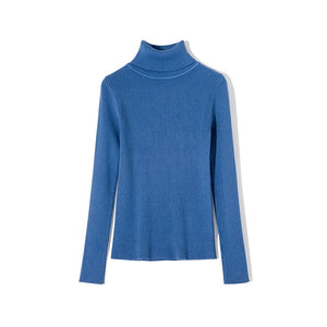 WOTWOY Casual Basic Women Solid Long Sleeve Turtleneck Sweater