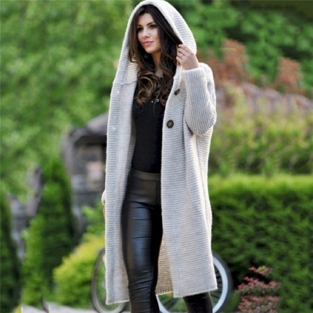 Spring Autumn Winter Women Solid Long Sweater