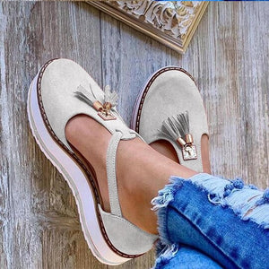 Women's Buckle Platform Casual Lace Sneakers