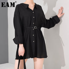 Load image into Gallery viewer, Women Black Buckle Pleated Bandage New V-Neck Long Sleeve Loose Dress