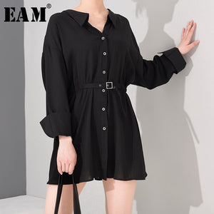 Women Black Buckle Pleated Bandage New V-Neck Long Sleeve Loose Dress