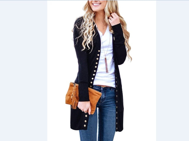 New Fashion Elegant Ladies Long Sleeve Knitted Cardigan Outwear Sweater