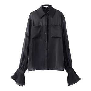 Women Black Organza Perspective Long Sleeve Loose Fit Blouse