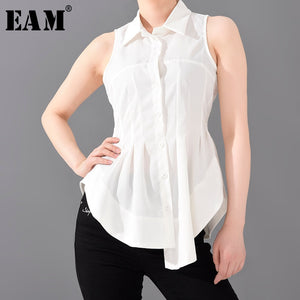 Women White Pleated Stitch Sleeveless Blouse