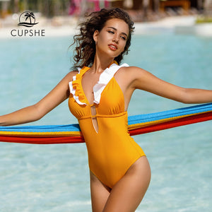 CUPSHE Women Yellow Ruffled V-neck Back Criss-Cross One-Piece Swimsuit