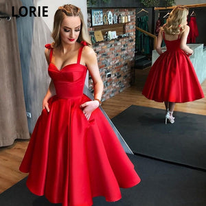 LORIE Red Short Evening Formal Satin Prom Party Gowns