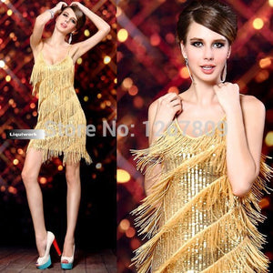 Sexy Tassel Sequin Sheath Mini Cocktail Celebrity Party Dresses