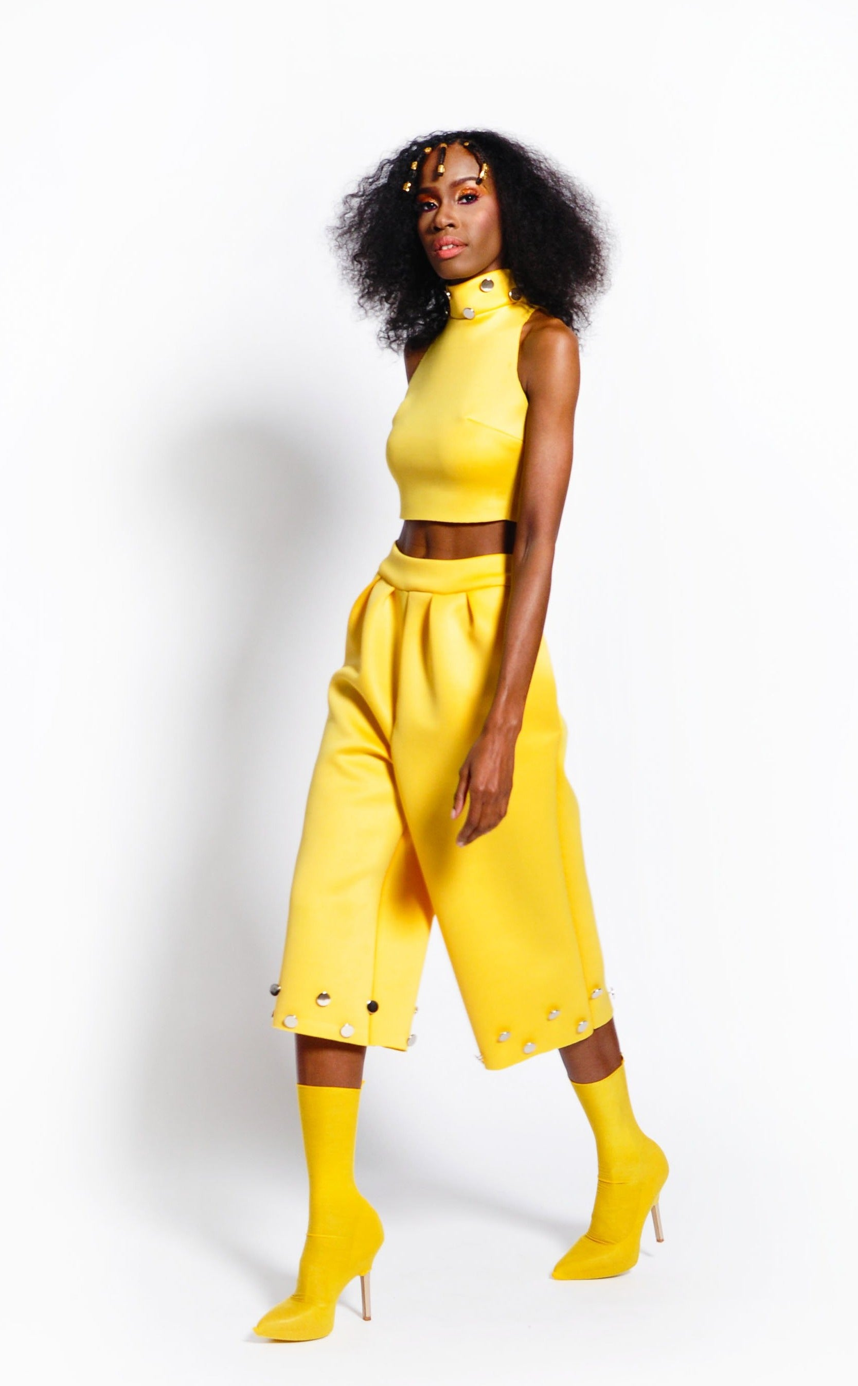 YELLOW NEOPRENE CROP SET (RUNWAY SAMPLE)