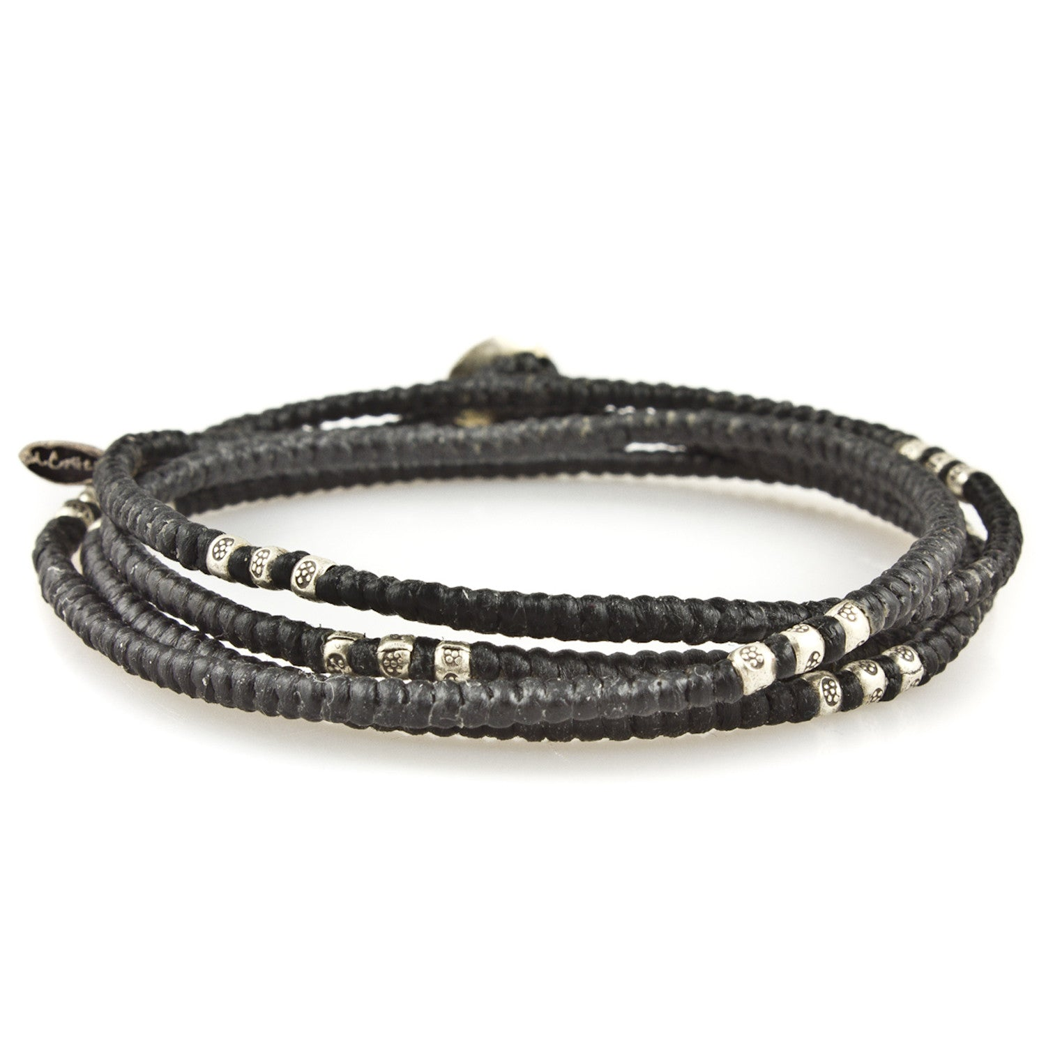 Knotted 4 Layer Silver Thai Stamped Wrap Bracelet