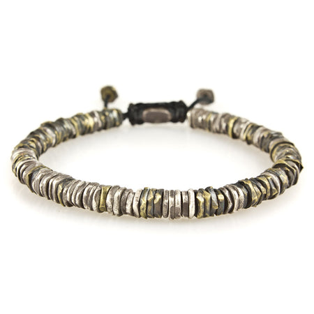 M. Cohen Mens Rectangular-Beads & Knotted Cord Bracelet
