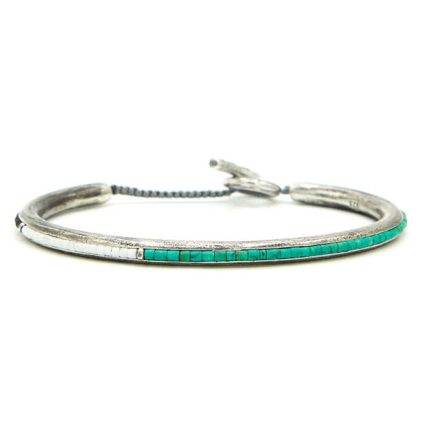 Round Bangle Cuff Three Color Beads