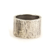 Carved Silver Tube Ring