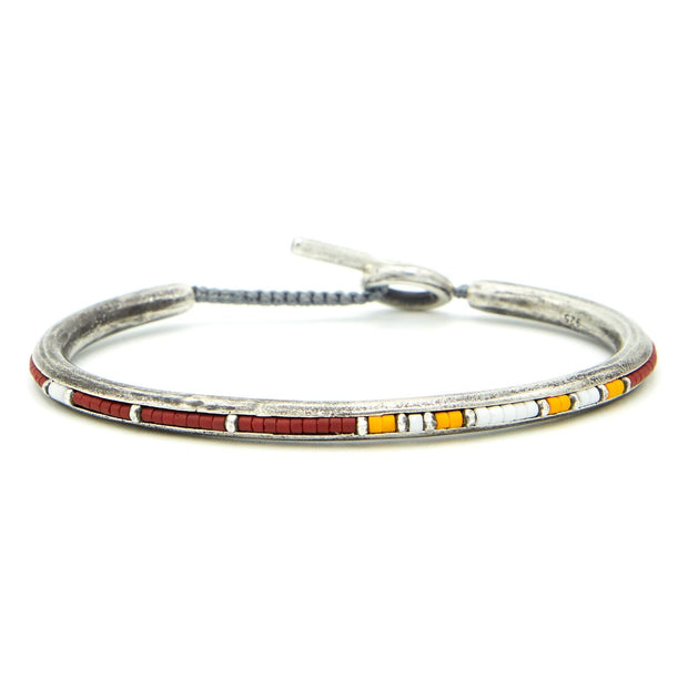 Round Bangle Cuff with Pattern Beads