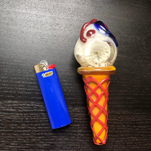 "Load image into Gallery viewer, ""Vanilla Bean"" Ice Cream Pipe w/ Blue Design"