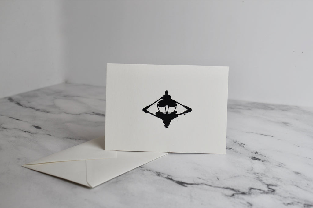 Letterpress Rower Logo Note Card with Envelope - Slack Tide Sea Salt