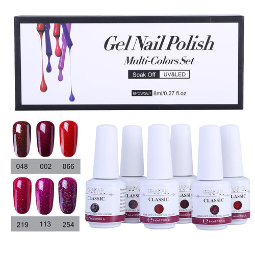 6Pc Gel Nail Polish Set UV LED Soak Off Gel Nail Art Kit Perfect Charm Color 8ml