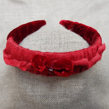 Load image into Gallery viewer, flamenco and scarlet velvet and linen hairband