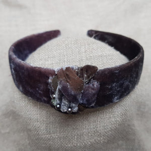 aubergine and copper velvet hairband
