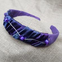 Load image into Gallery viewer, sapphire and viola silk satin and linen hairband