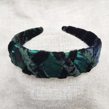 Load image into Gallery viewer, emerald and sapphire silk velvet hairband