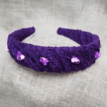 Load image into Gallery viewer, amethyst silk and linen hairband