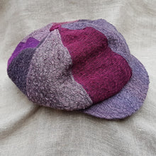 Load image into Gallery viewer, silk and linen hat PINKS AND PURPLES